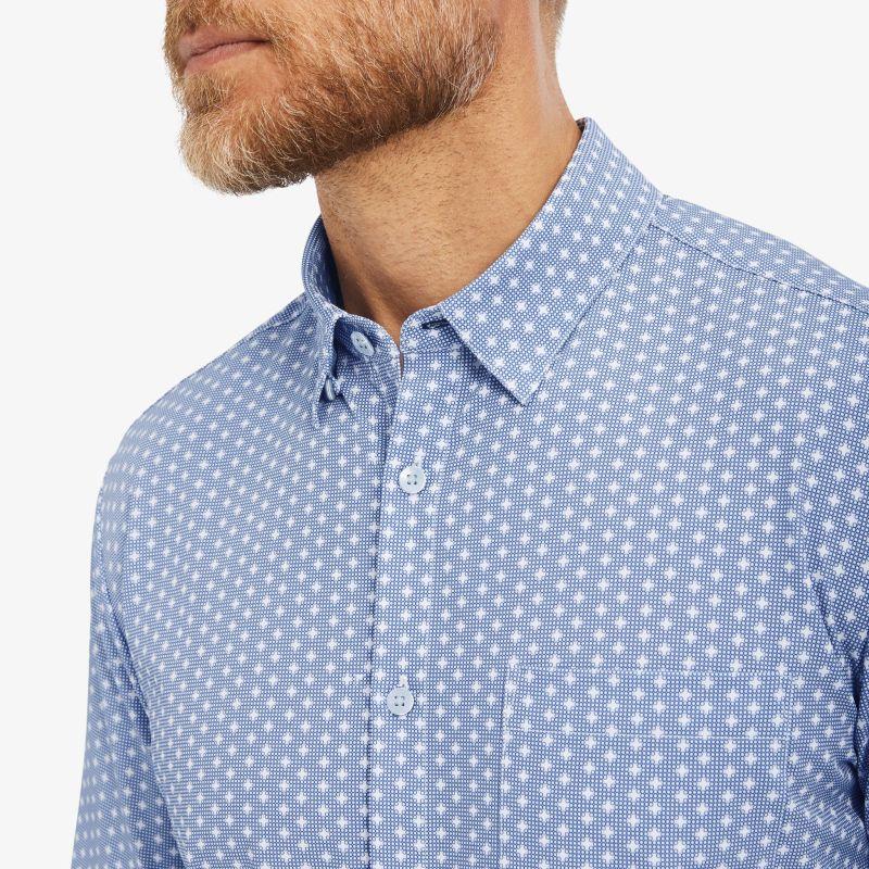 Leeward Casual Dress Shirt - Navy Geo DotPrint, lifestyle/model