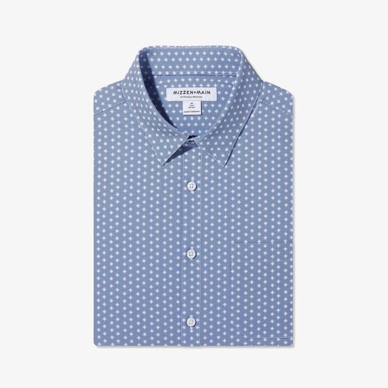 Leeward Casual Dress Shirt - Navy Geo DotPrint, featured product shot
