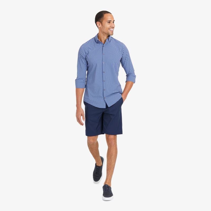 Lightweight Leeward Dress Shirt - Blue Red MultiPlaid, lifestyle/model