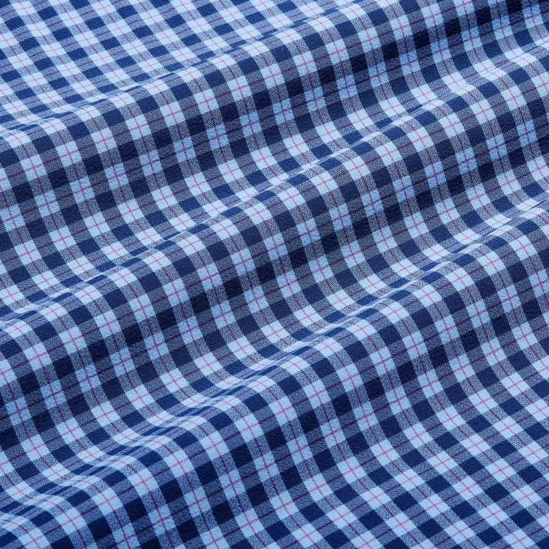 Lightweight Leeward Dress Shirt - Blue Red MultiPlaid, fabric swatch closeup