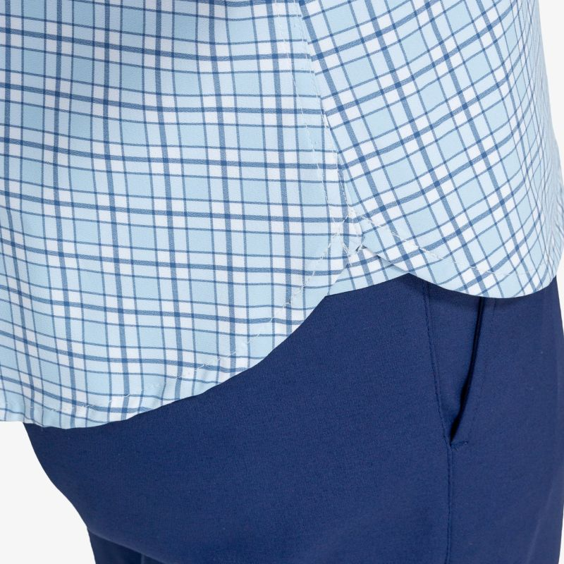 Lightweight Leeward Popover - Light Blue Navy Multi Check, lifestyle/model