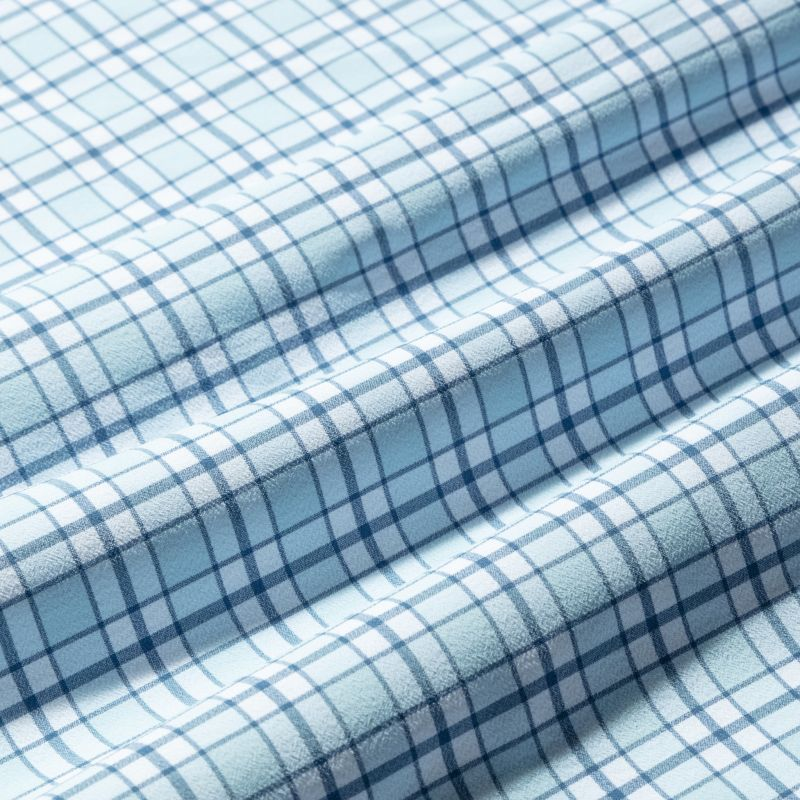 Lightweight Leeward Popover - Light Blue Navy Multi Check, fabric swatch closeup