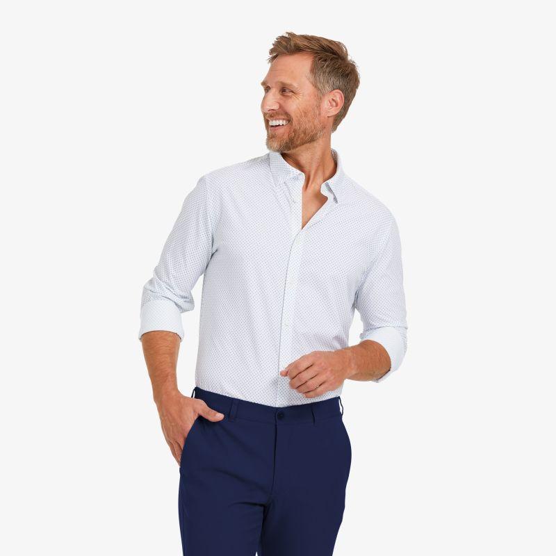 Lightweight Leeward Dress Shirt - Light Blue And White Circle GeoPrint, lifestyle/model