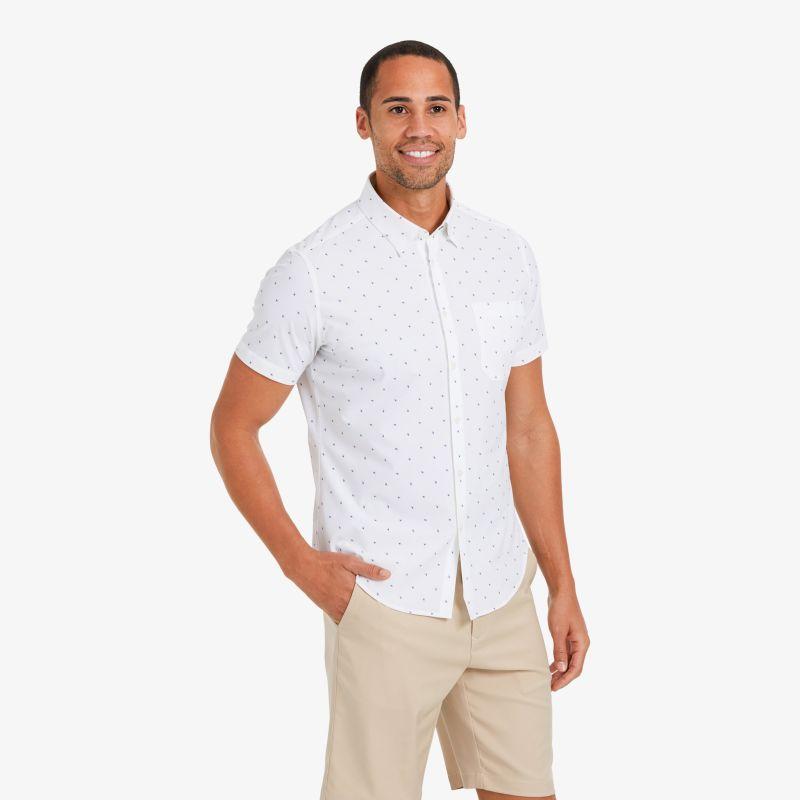 Leeward Short Sleeve - Navy And Sea Green FloralPrint, lifestyle/model