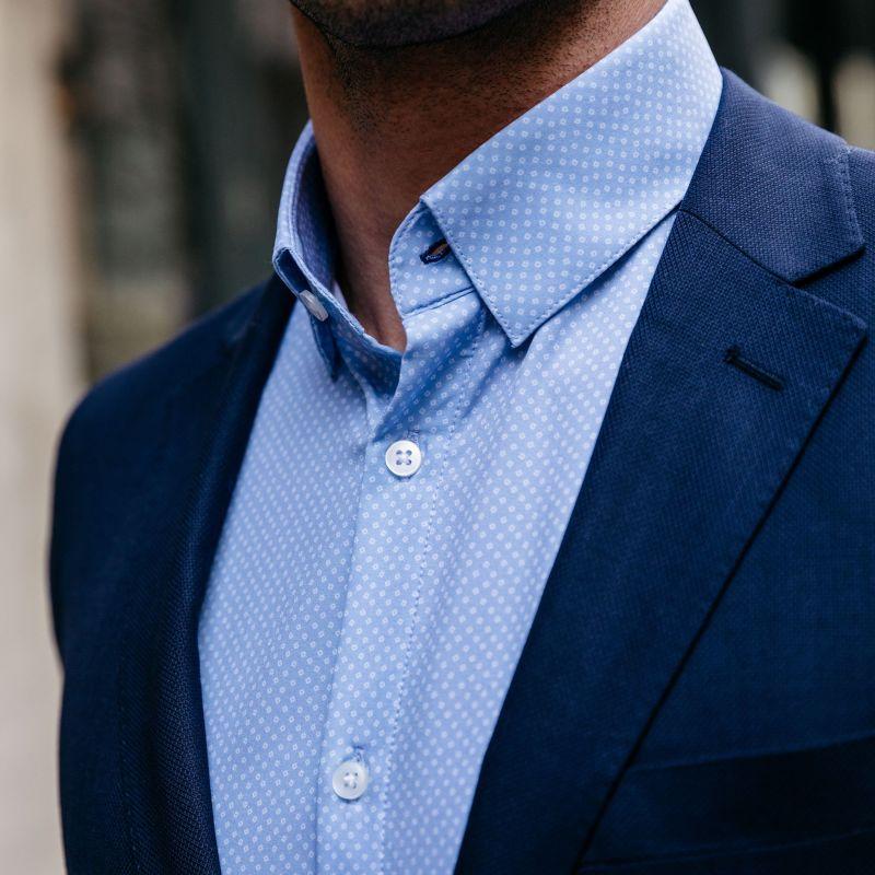 Leeward Dress Shirt - Light Blue SquarePrint, lifestyle/model