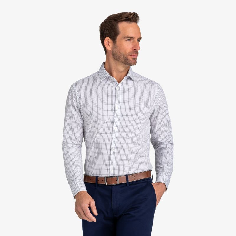 Leeward Dress Shirt - Navy Grid, lifestyle/model