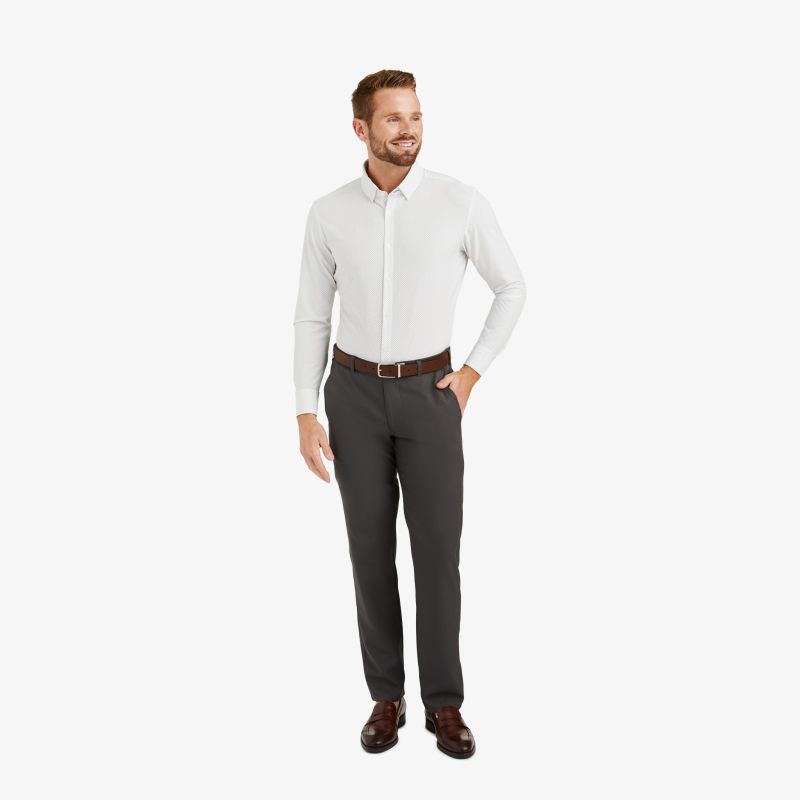 Leeward Dress Shirt - Navy Gray DotPrint, lifestyle/model
