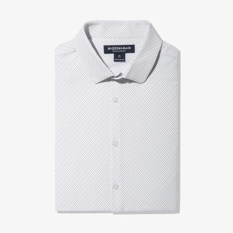 Leeward Dress Shirt - Navy Gray DotPrint, featured product shot