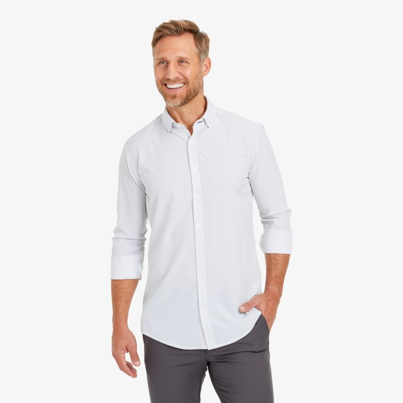 Leeward Dress Shirt - White Geo DotPrint, lifestyle/model