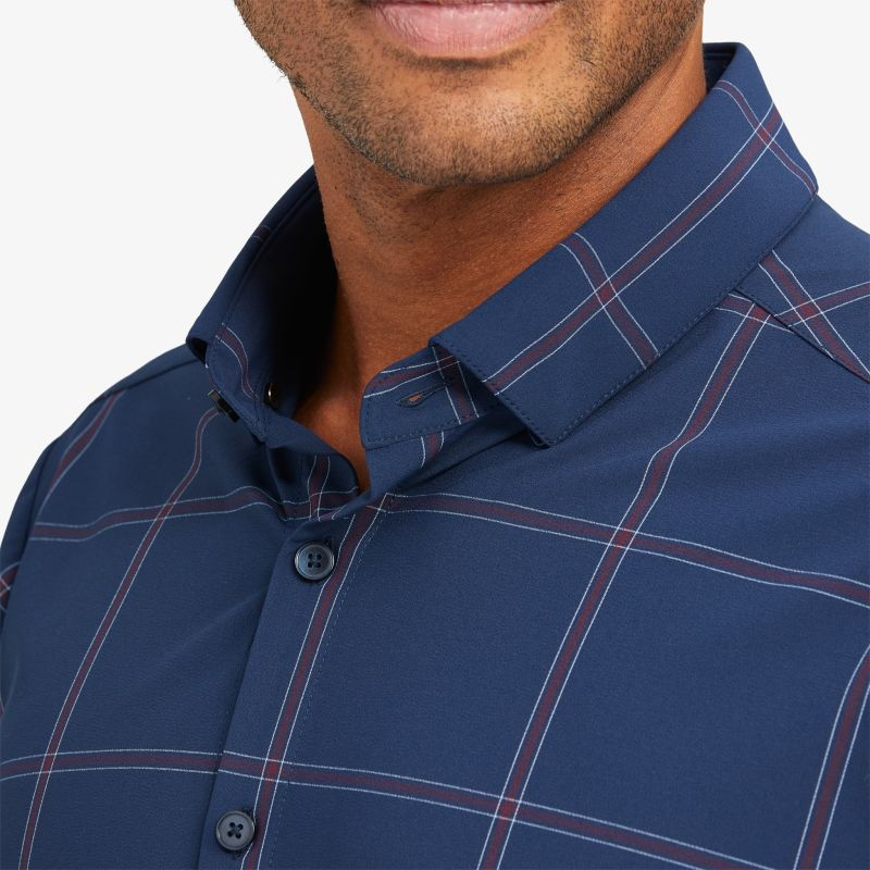 Leeward Dress Shirt - Navy Large Windowpane, lifestyle/model
