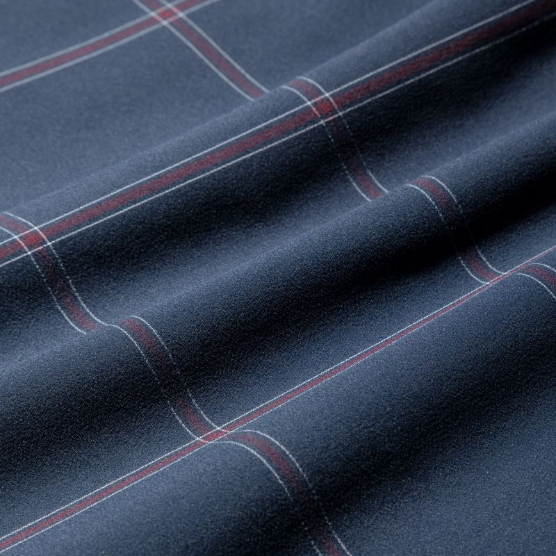 Leeward Dress Shirt - Navy Large Windowpane, fabric swatch closeup