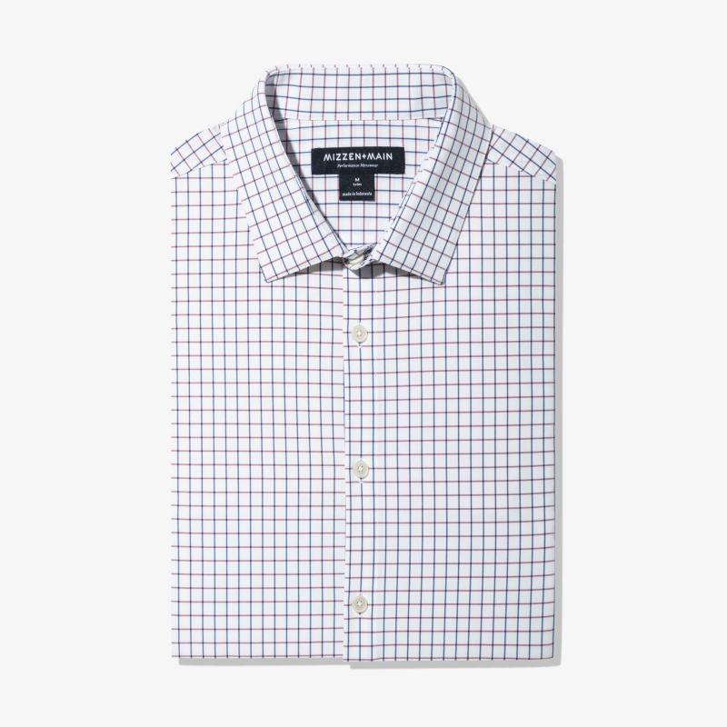 Leeward Dress Shirt - Red Navy Check, featured product shot