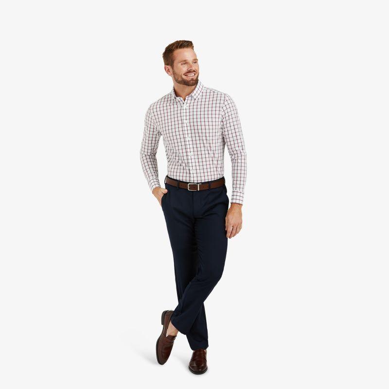 Leeward Dress Shirt - Burgundy Navy Check, lifestyle/model