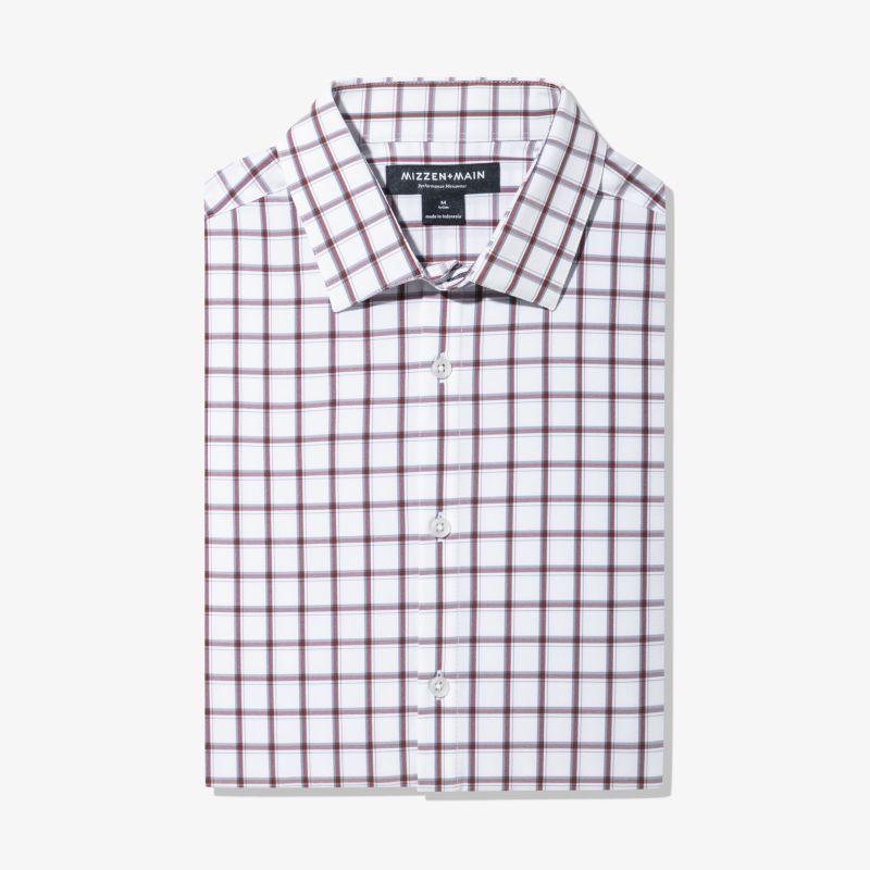 Leeward Dress Shirt - Burgundy Navy Check, featured product shot