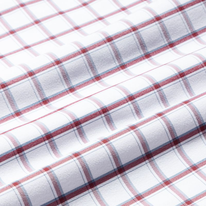 Leeward Dress Shirt - Burgundy Navy Check, fabric swatch closeup