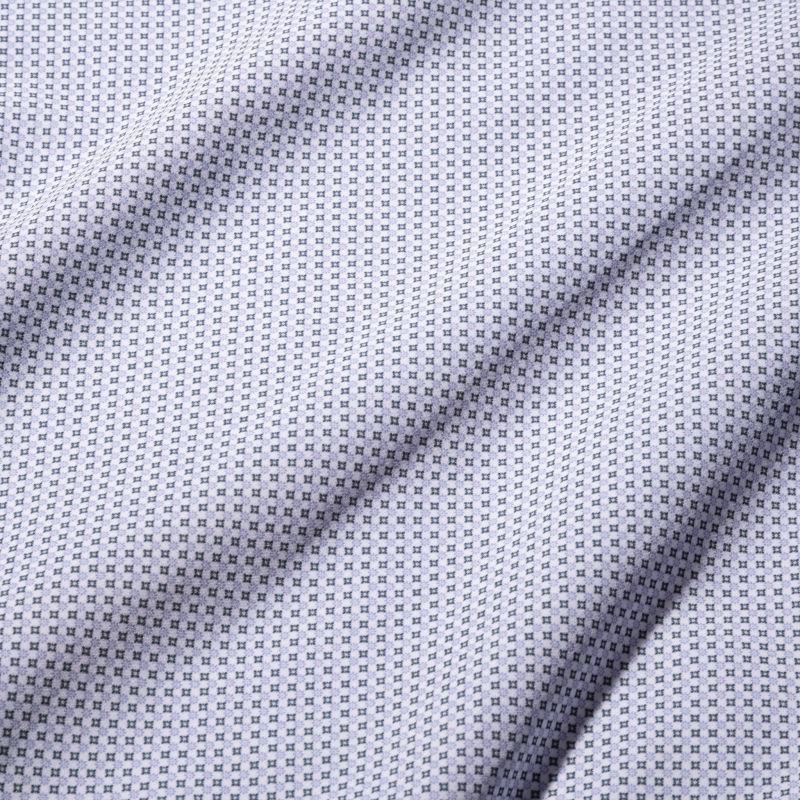 Leeward Dress Shirt - Navy Gray Geo Print, fabric swatch closeup