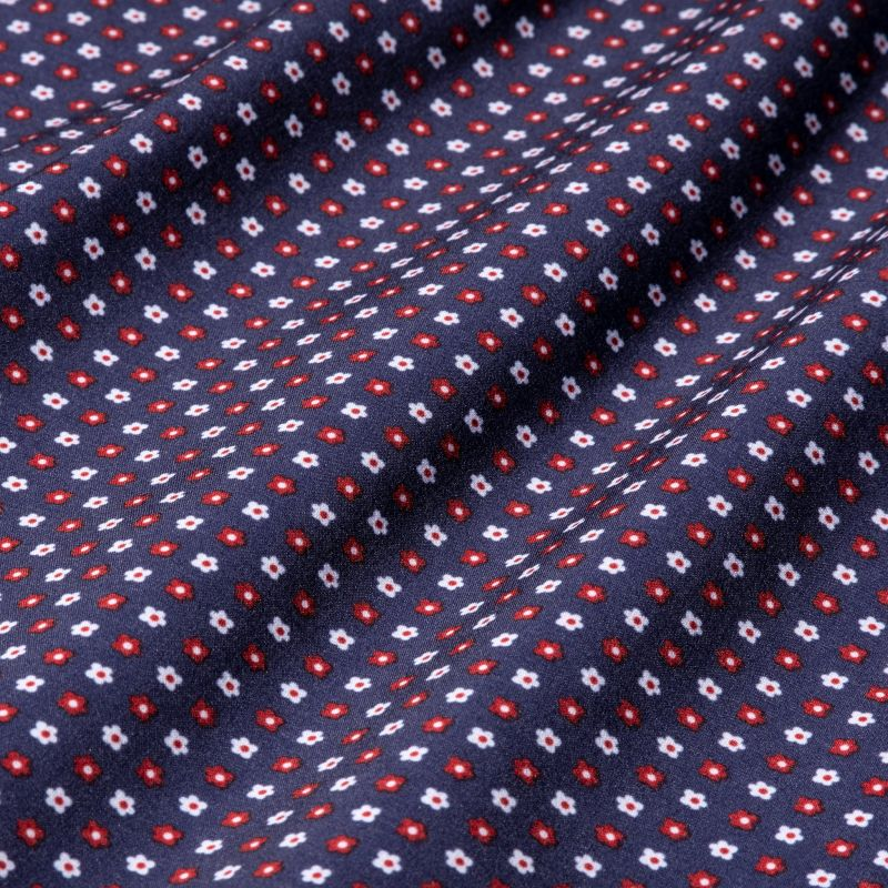 Pocket Square - Navy Red FloralPrint, fabric swatch closeup
