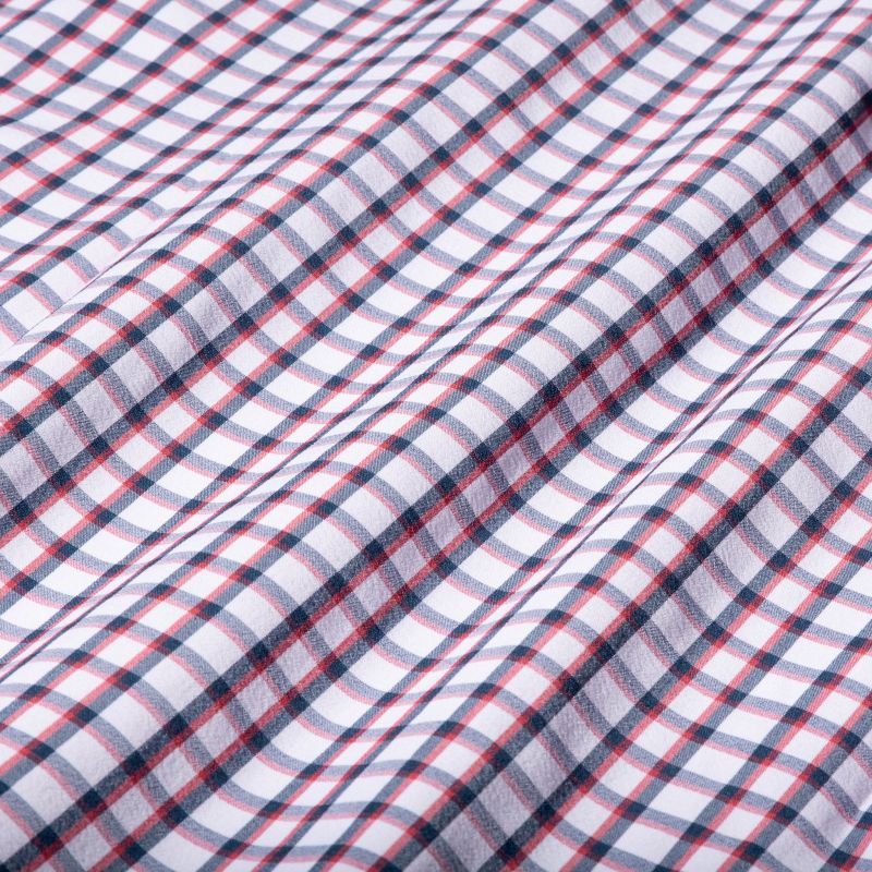 Leeward Dress Shirt - Navy Red Check, fabric swatch closeup