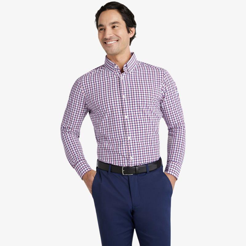 Leeward Dress Shirt - Navy Red Check, lifestyle/model