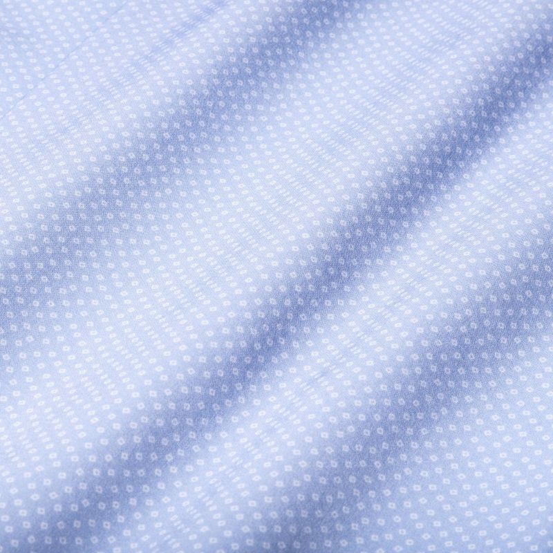Leeward Dress Shirt - Light Blue SquarePrint, fabric swatch closeup