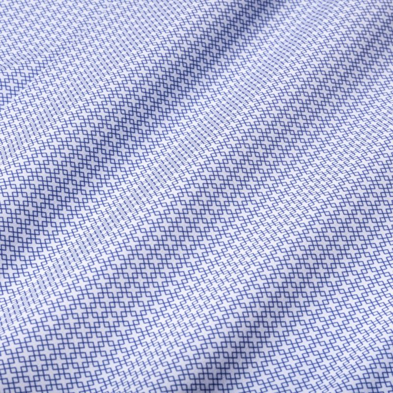 Leeward Dress Shirt - Navy Diamond Geo Print, fabric swatch closeup