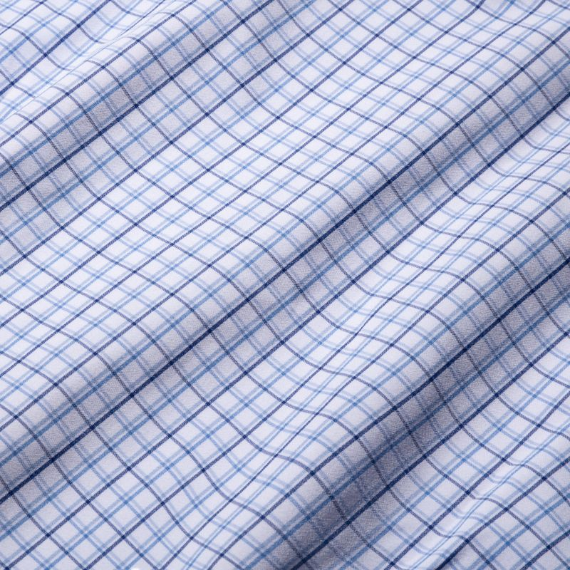 Leeward Dress Shirt - Navy Blue Tattersall, fabric swatch closeup