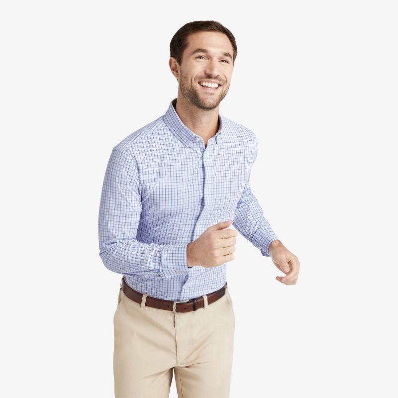 Leeward Dress Shirt - Navy Blue Tattersall, lifestyle/model