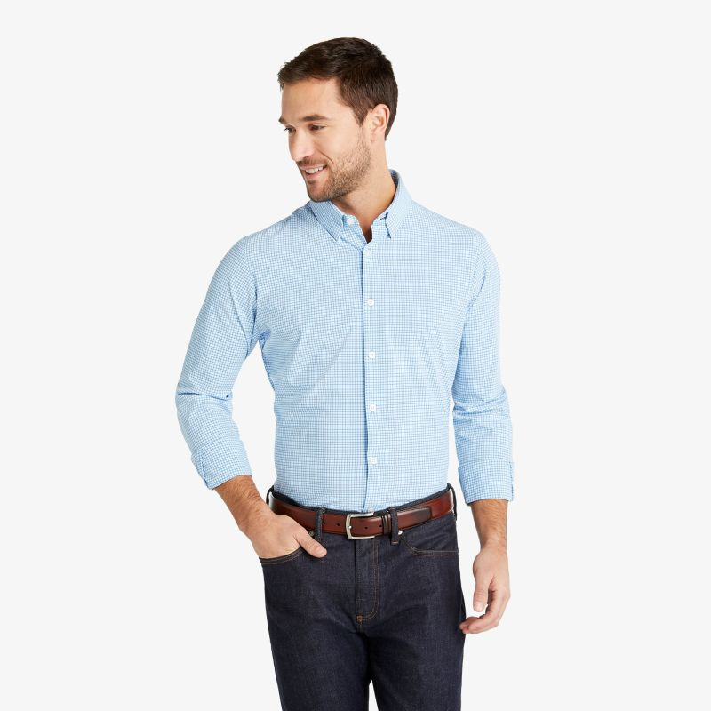 Leeward Dress Shirt - Blue Aqua Check, lifestyle/model