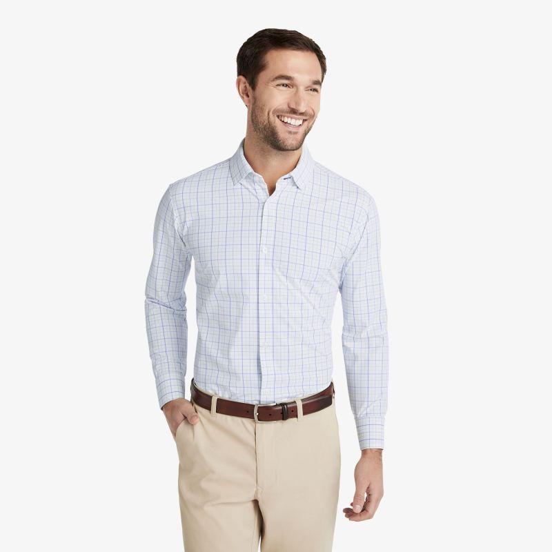 Leeward Dress Shirt - Aqua Blue Tattersall, lifestyle/model