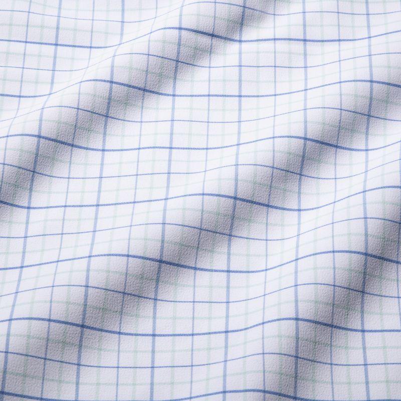 Leeward Dress Shirt - Aqua Blue Tattersall, fabric swatch closeup