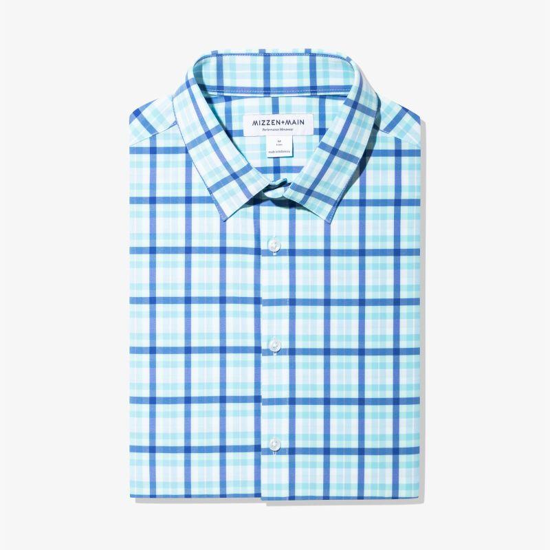 Leeward Dress Shirt - Blue Aqua MultiPlaid, featured product shot