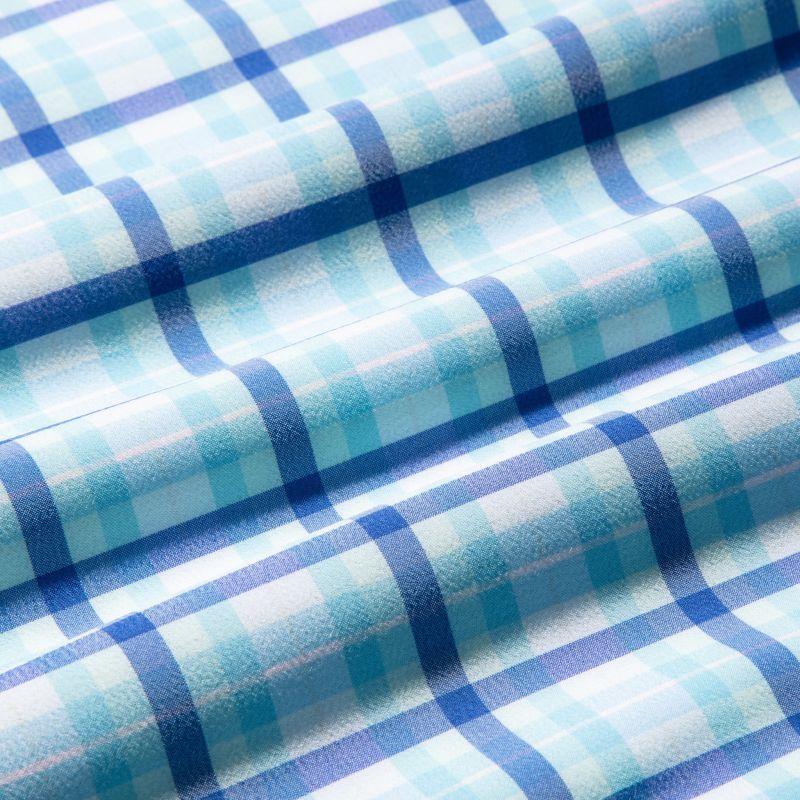 Leeward Dress Shirt - Blue Aqua MultiPlaid, fabric swatch closeup