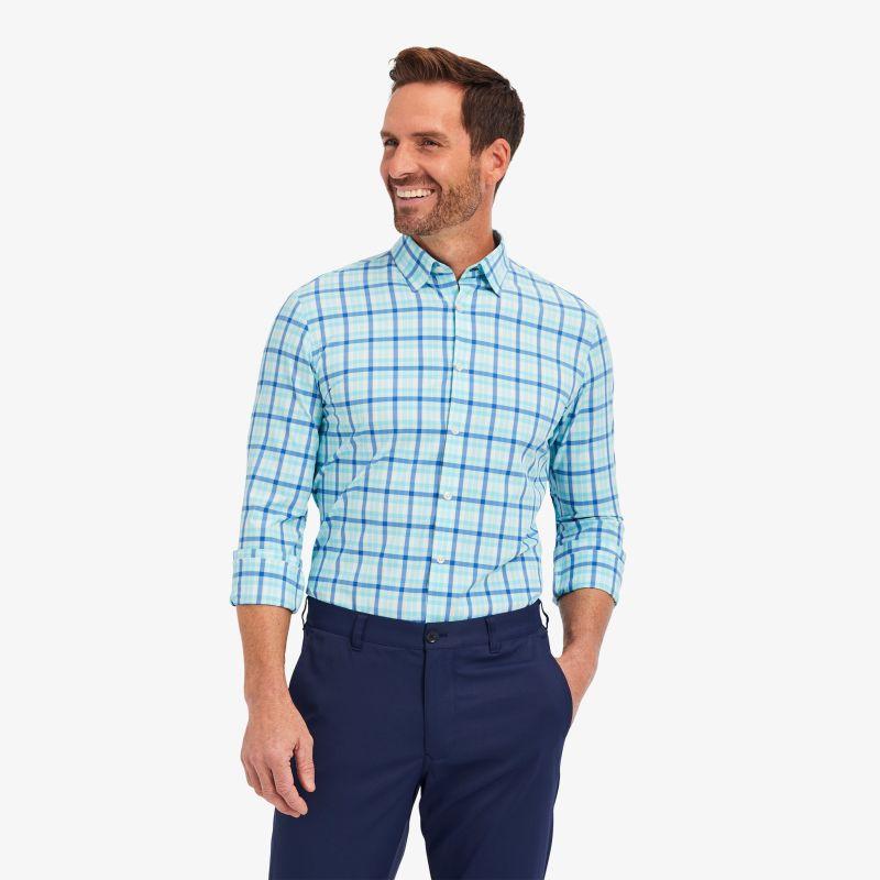 Leeward Dress Shirt - Blue Aqua MultiPlaid, lifestyle/model