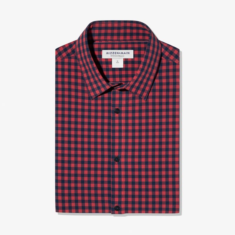 Leeward Dress Shirt - Red Navy Gingham, featured product shot