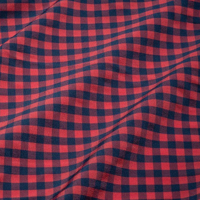 Leeward Dress Shirt - Red Navy Gingham, fabric swatch closeup