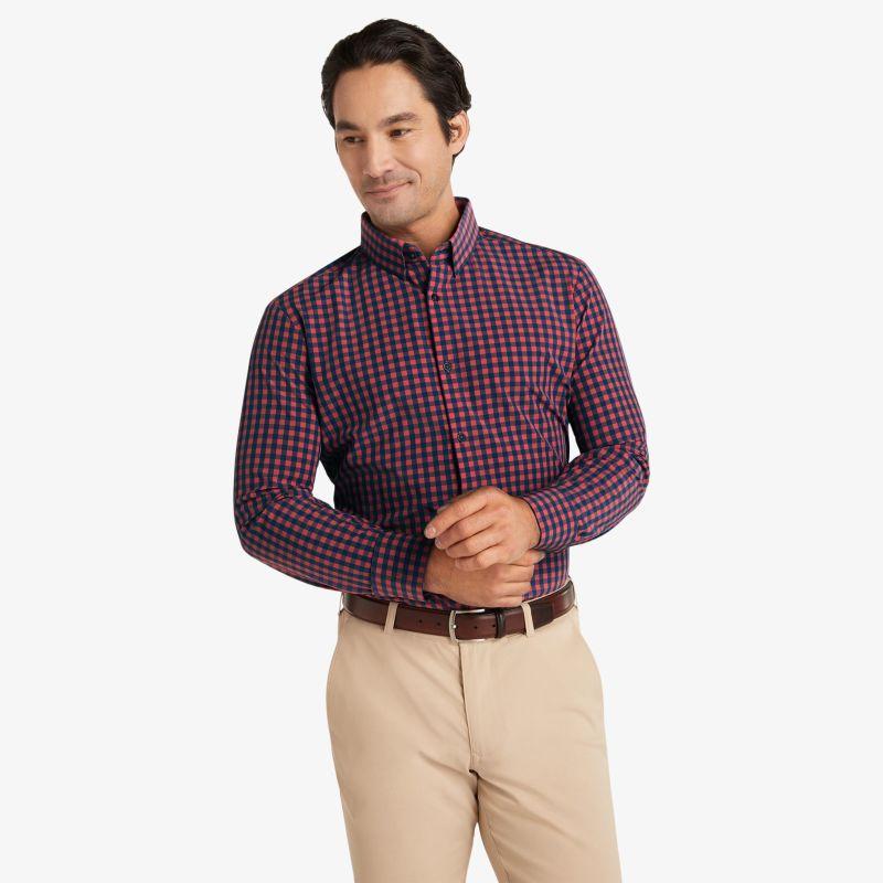 Leeward Dress Shirt - Red Navy Gingham, lifestyle/model