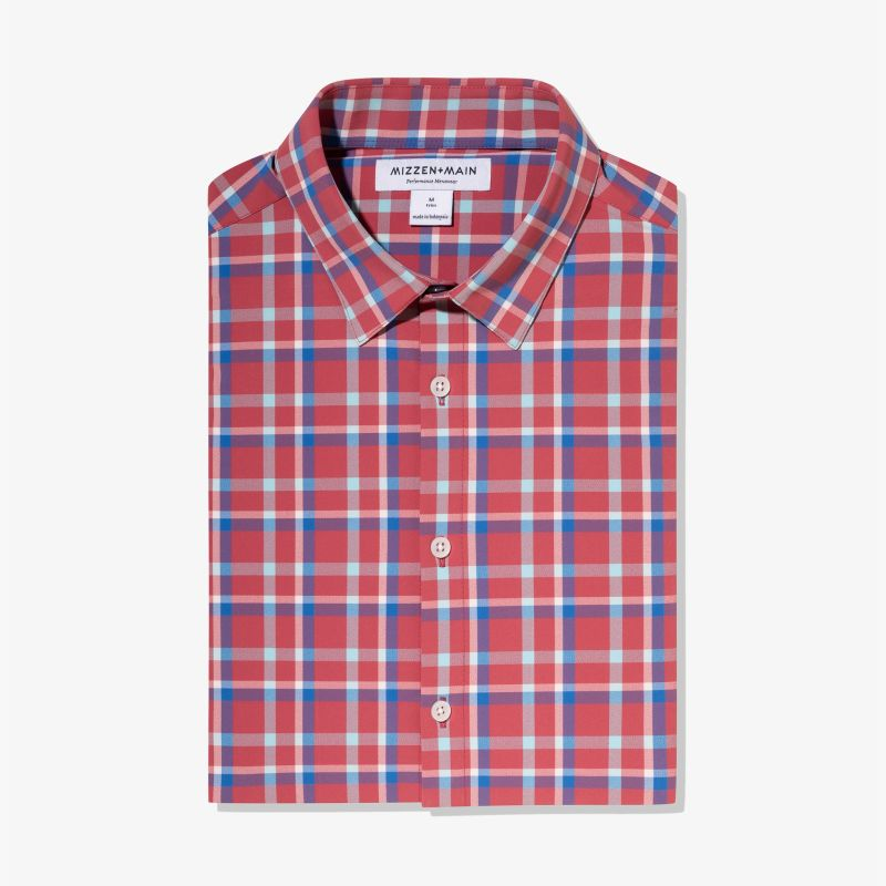 Leeward Dress Shirt - Red Blue Pink Multi Plaid, featured product shot