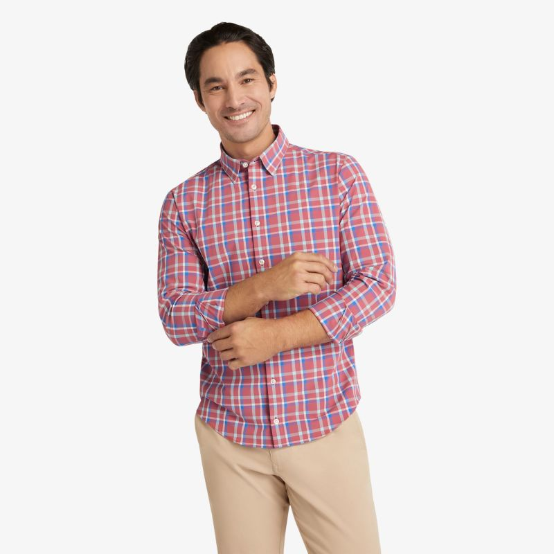 Leeward Dress Shirt - Red Blue Pink Multi Plaid, lifestyle/model