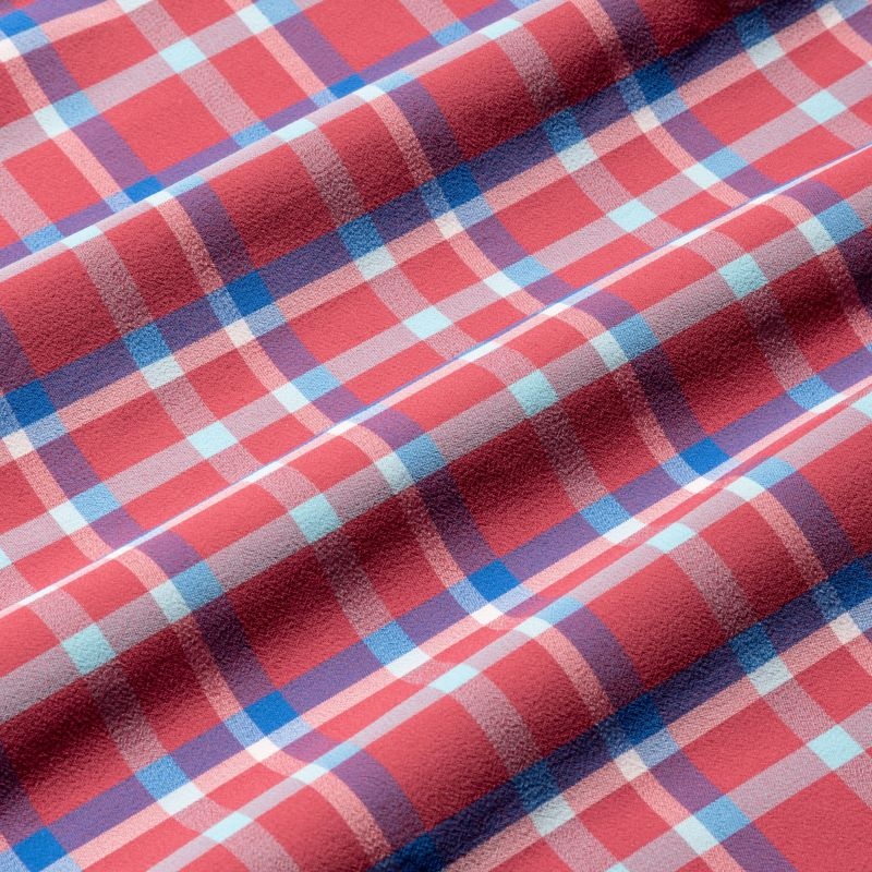 Leeward Dress Shirt - Red Blue Pink Multi Plaid, fabric swatch closeup