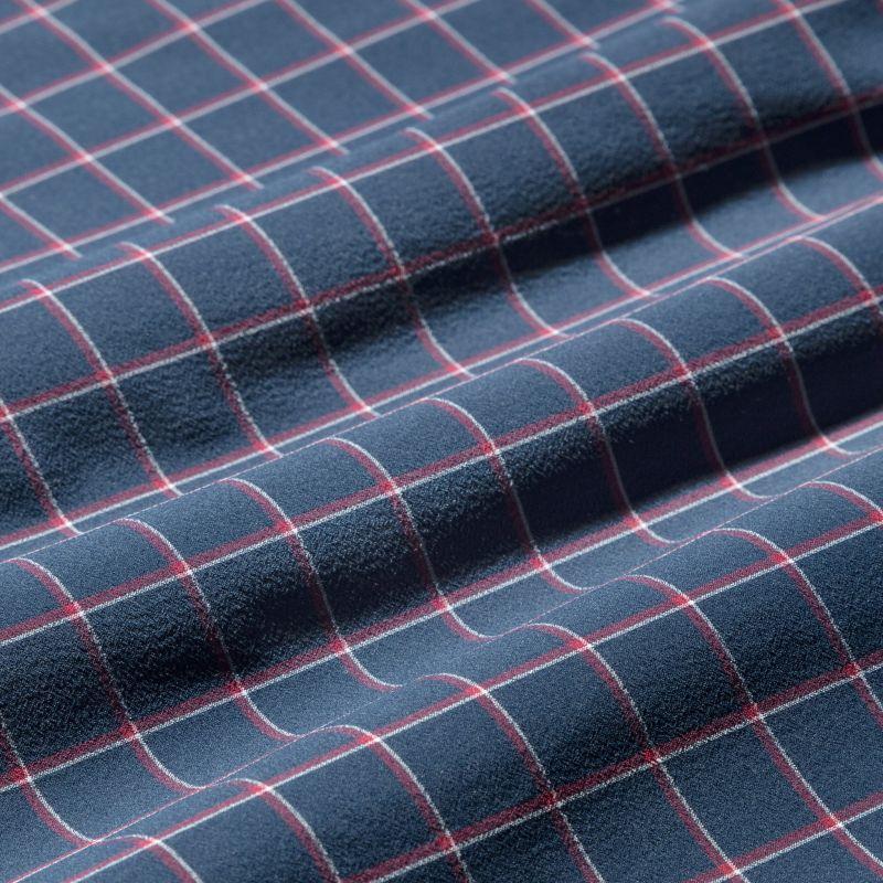 Lightweight Leeward Short Sleeve - Navy Red Tattersall, fabric swatch closeup