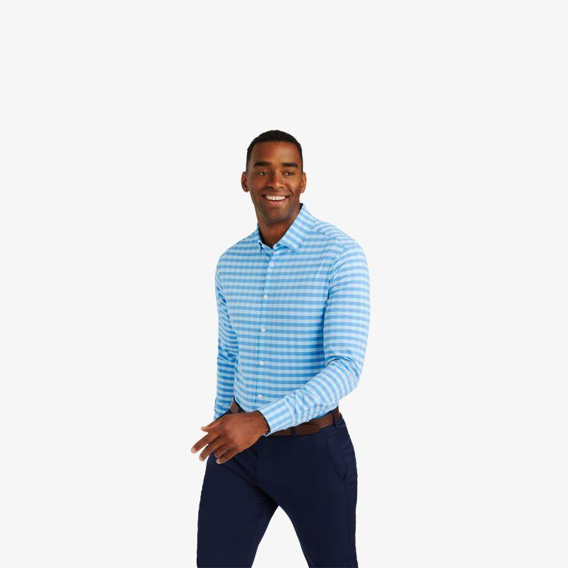 Lightweight Leeward Dress Shirt - Blue Gingham, lifestyle/model