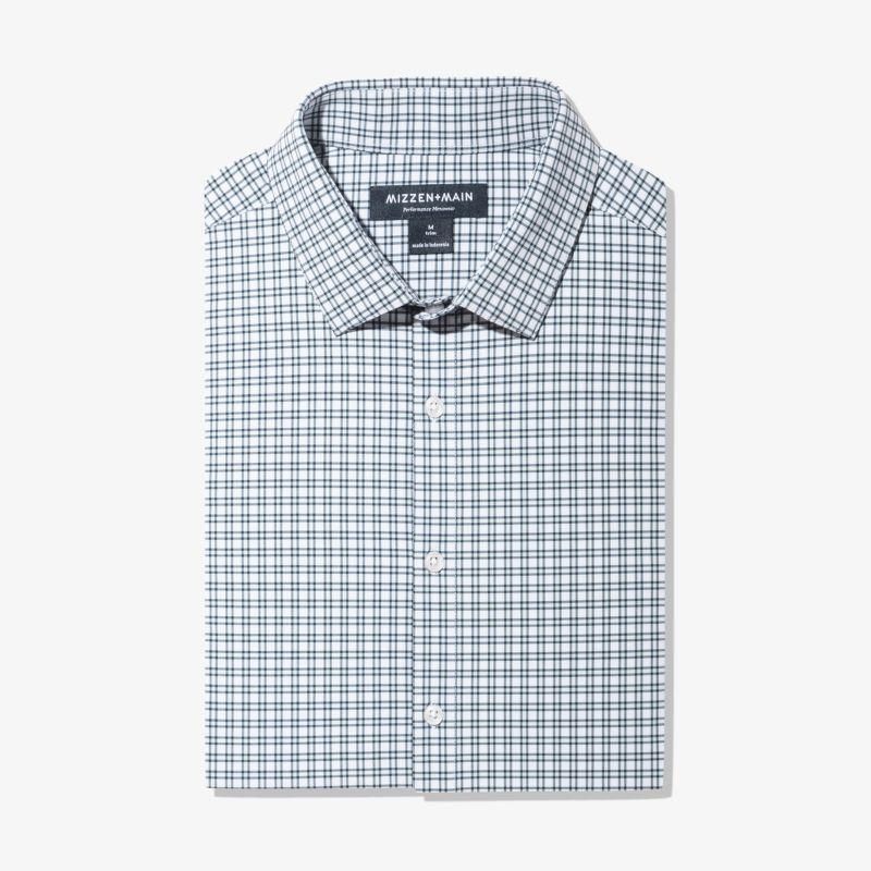 Lightweight Leeward Dress Shirt - Light Blue Check, featured product shot