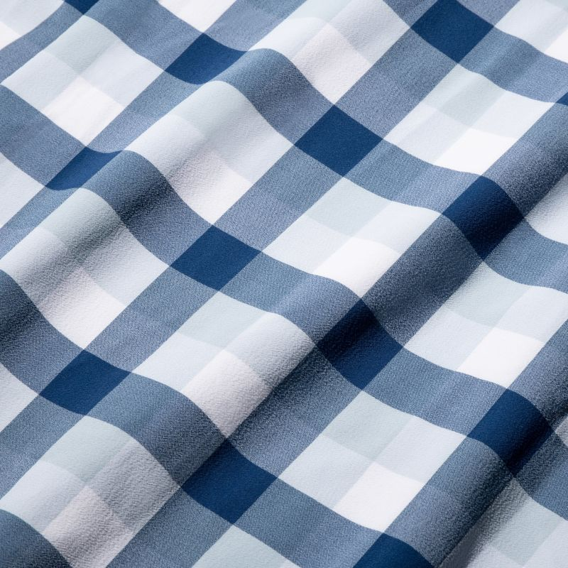 Lightweight Leeward Short Sleeve - Blue Large MultiCheck, fabric swatch closeup
