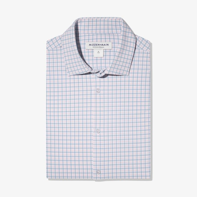 Lightweight Leeward Dress Shirt - Light Blue OrangeCheck, featured product shot