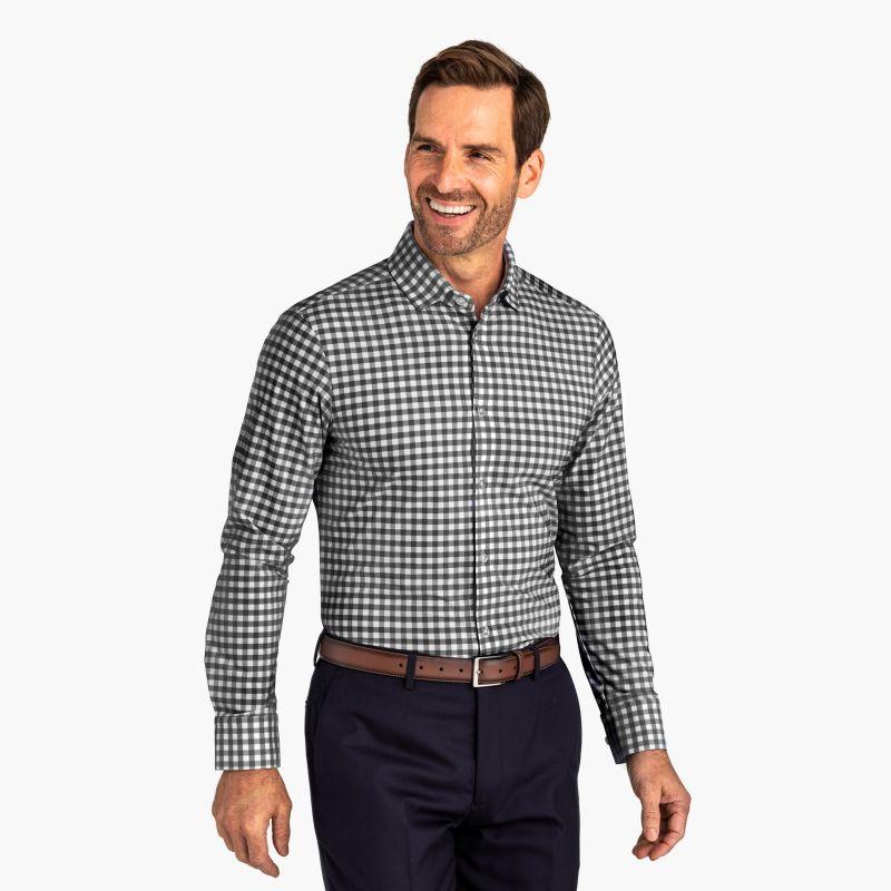 Leeward Dress Shirt - Blue Check, lifestyle/model