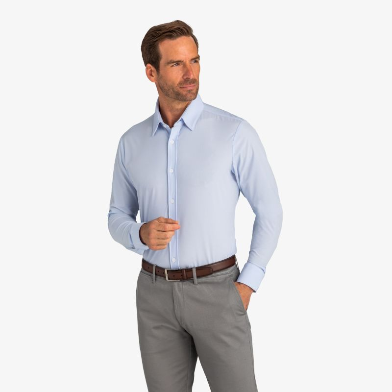 Leeward Formal Dress Shirt - Light Blue Solid, lifestyle/model