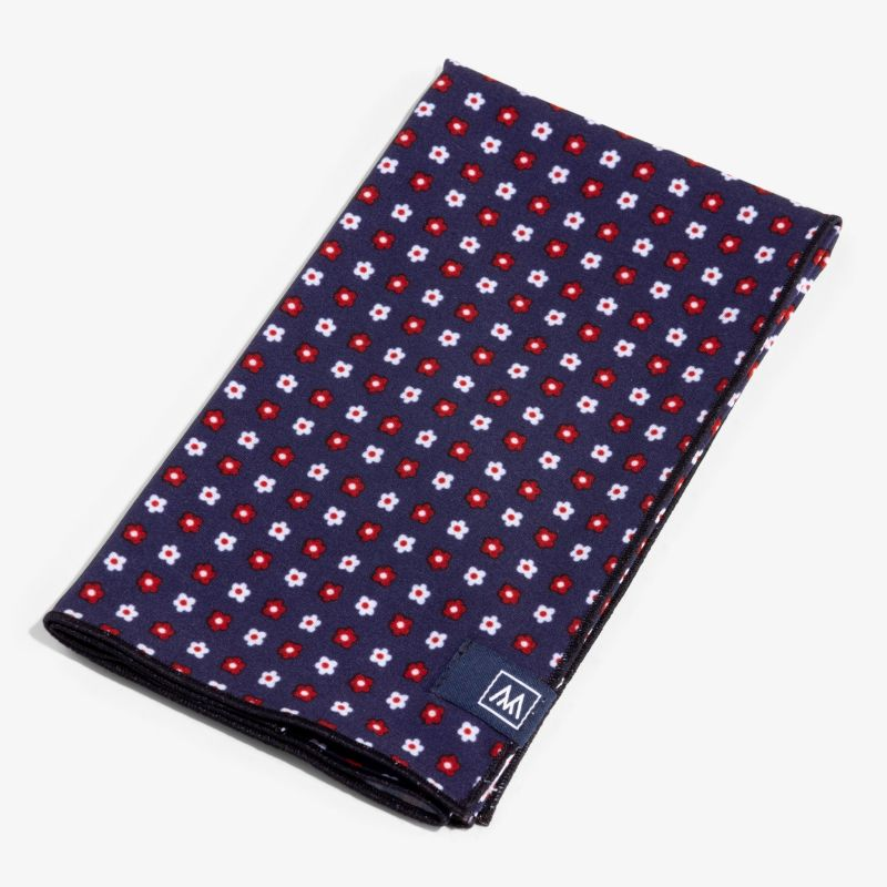 Pocket Square - Navy Red FloralPrint, featured product shot