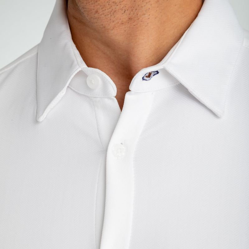 Spinnaker Dress Shirt - White Herringbone, lifestyle/model