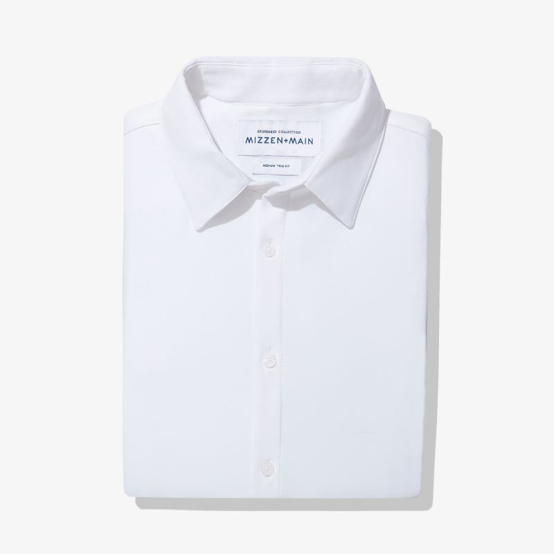 Spinnaker Dress Shirt - White Herringbone, featured product shot