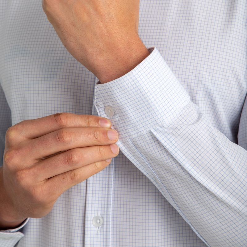 Leeward Formal Dress Shirt - Light Blue MiniCheck, lifestyle/model